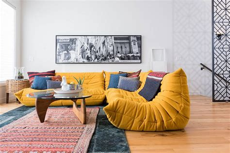 togo sectional plush togo sofa in bright yellow adds color to the sitting