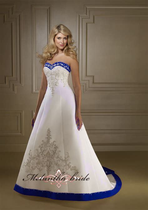 wedding dresses royal blue and white 2012 sale a line sweetheart neckline satin embroidered
