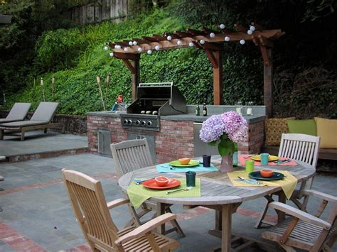 brick grill ideas patio traditional with wood fence drain