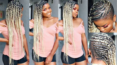 long cornrow hairstyles with shaved sides easy feed in braids great for shaved sides and full head