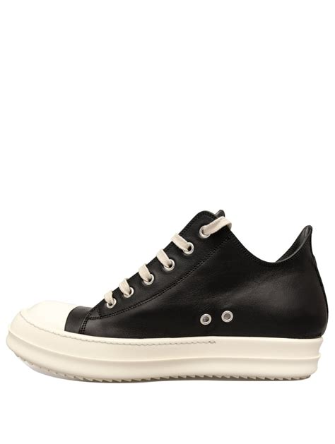 rick owens mens leather low sneakers black in black for