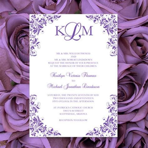print your own wedding invitations templates purple wedding invitations quot kaitlyn quot printable templates