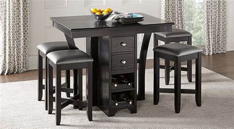 Rooms To Go Dining Tables Ellwood Black 5 Pc Bar Height Dining Set Dining Room Sets Black