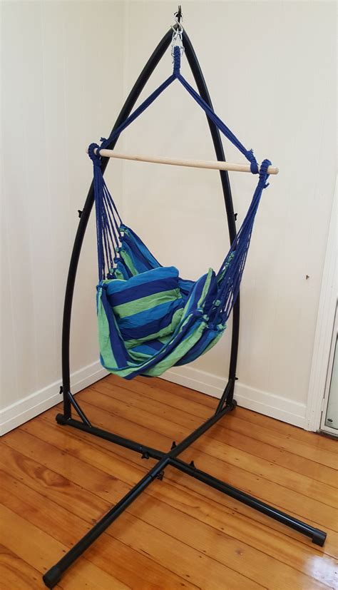 Free Standing Hammock Chair Blue Padded Hammock Chair With Pillows With Stand