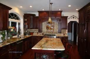 Granite With Cherry Cabinets In Kitchens Tuscan Kitchen Backsplash With Cherry Cabinets And Granite Traditional Kitchen Other