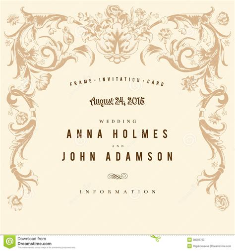 classic wedding card template classic vintage wedding card vector baroque stock vector