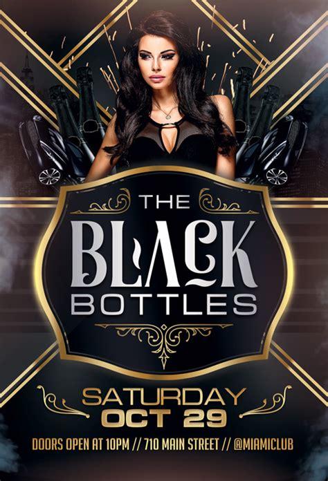 Black Bottles Party Flyer Template For Photoshop Awesomeflyer Com Black Flyer Template