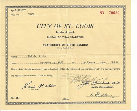 St Louis Mo Birth Records Wirtz Family Of Prussia And St Louis Missouri The