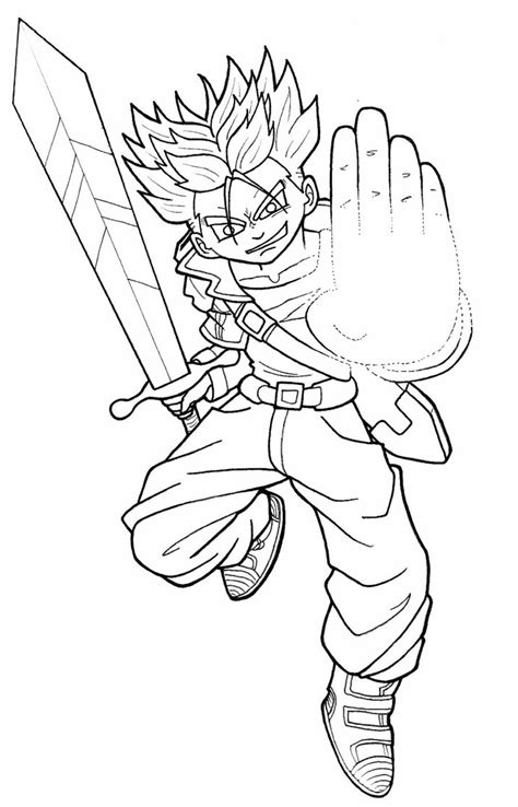 dragon ball z trunks coloring pages dbz super saiyan trunks by aichibiailines on deviantart