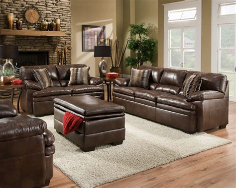 living room with leather sofa brown bonded leather sofa set casual living room furniture