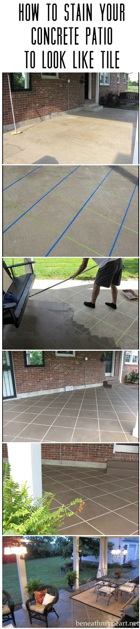 How To Stain Your Concrete Patio by How To Stain Your Concrete Patio To Look Like Tile