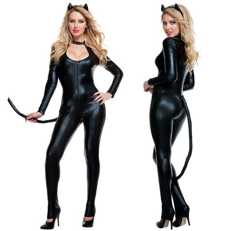 Cat Time Black Leather new arrival cat suit fancy dress shiny