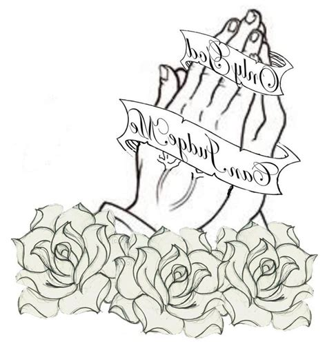 praying hands tattoo with roses rosary necklace stencils caymancode