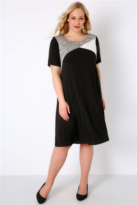 I Tunic black white grey colour block tunic dress plus size 16