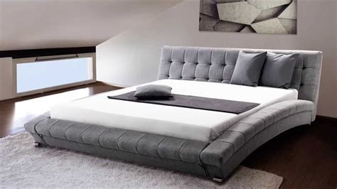 King Bed Frame Gray Beliani Upholstered Bed Fabric King Size Incl