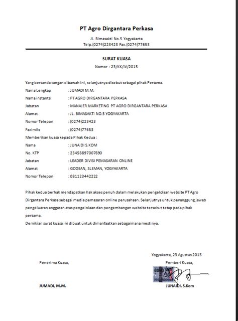 contoh surat kuasa dari ahli waris wisata dan info sumbar