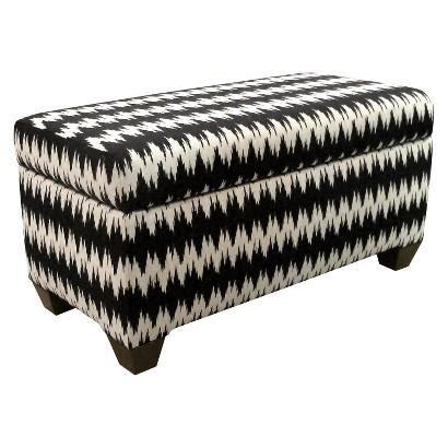 circo storage bench black and white braided rope print bench