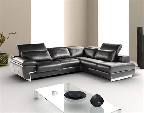 Adjustable Sectional Sofa Black Leather Modern Sectional Sofa W Adjustable Headrest