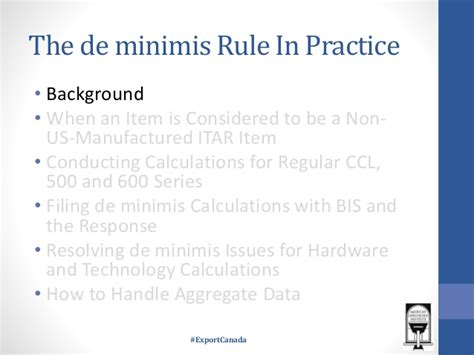 supplement 3 to part 740 of the ear the de minimis rule in practice
