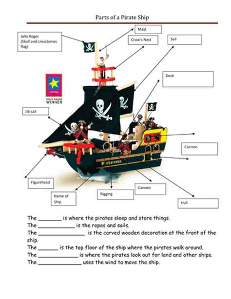 ship parts names pirates by ppateacher uk teaching resources tes