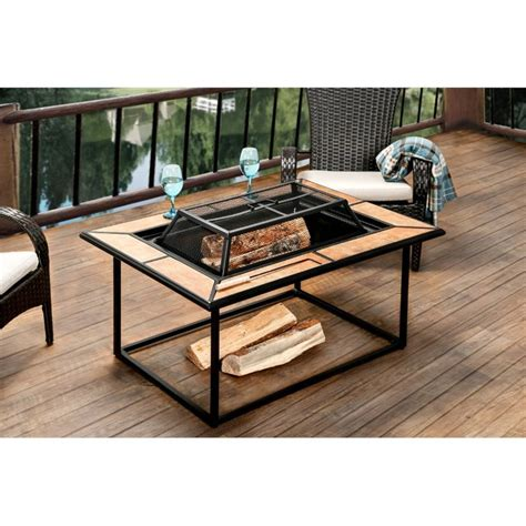 pit table on wood deck wood burning pit table rectangular coffee patio deck