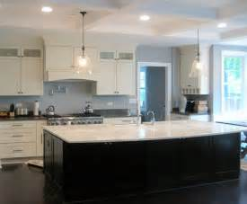 white shaker kitchen large dark island modern chicago style decorating home