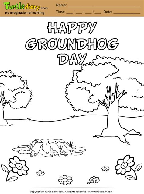 groundhog day sheet happy groundhog day coloring sheet turtle diary