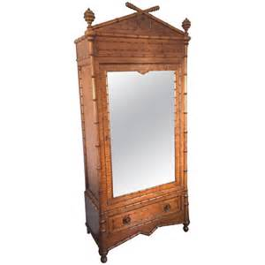 19th century faux bamboo mirrored armoire for sale at 1stdibs