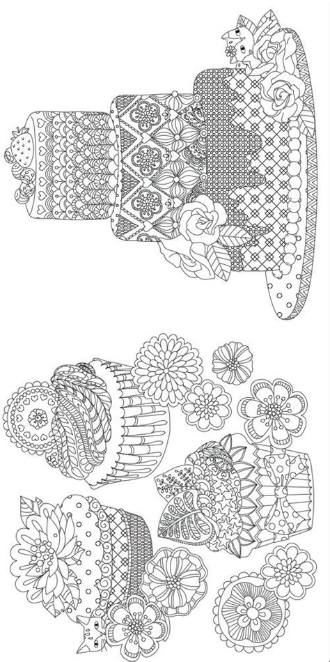 cake coloring pages for adults 89 best cupcakes cakes coloring pages for adults images