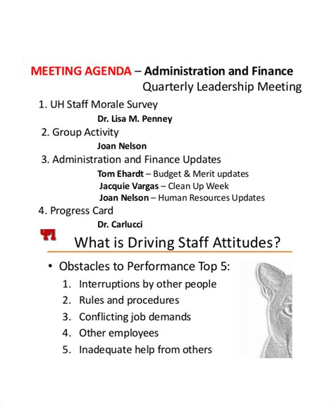sample staff meeting agenda 6 documents in pdf
