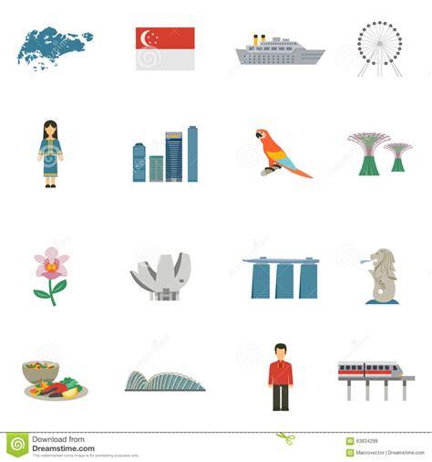 icon design singapore singapore culture flat icons set stock vector image