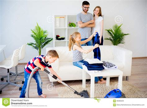 family cleaning house stock photo image of house child