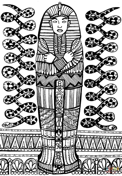 coloring pages of egyptian pharaohs sarcophagus of pharaoh coloring page free printable
