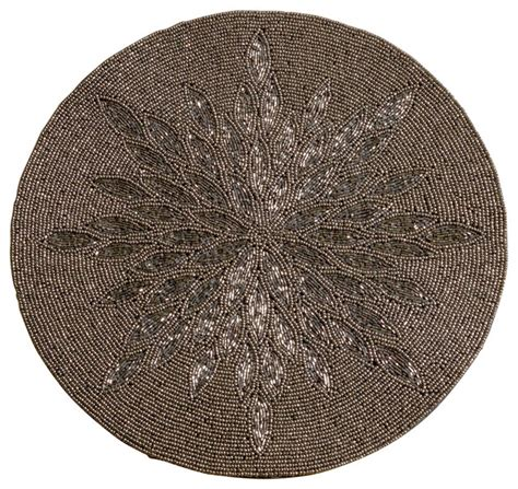 contemporary place mats 15 quot glass beaded sunburst placemat contemporary