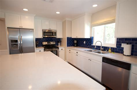 cobalt blue backsplash kitchen contemporary with subway white cabinets cobalt blue subway tile from home depot