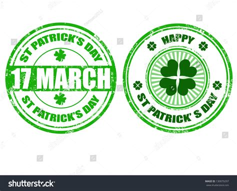 rubber st sets set grunge rubber stpatricks day stsvector stock vector