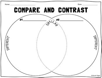 compare and contrast diagrams venn diagram compare contrast worksheet tpt