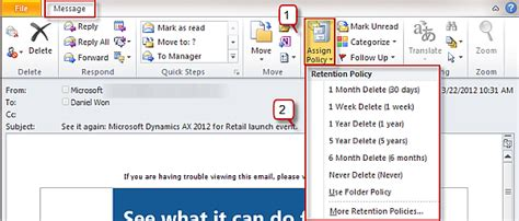 yahoo email retention policy outlook default mail client mac