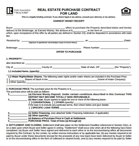 sle real estate purchase agreement template 13 free