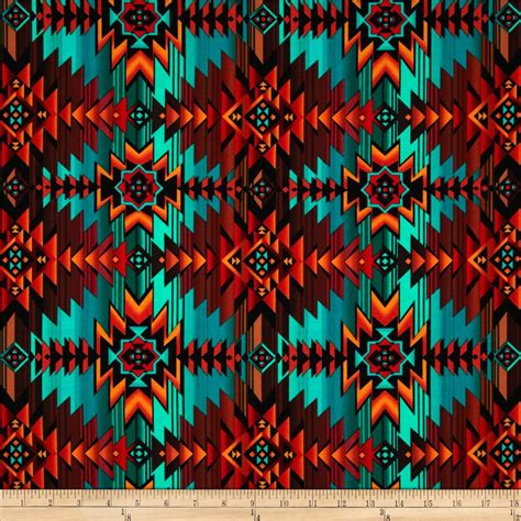 designer fabric timeless treasures southwest blanket turquoise discount