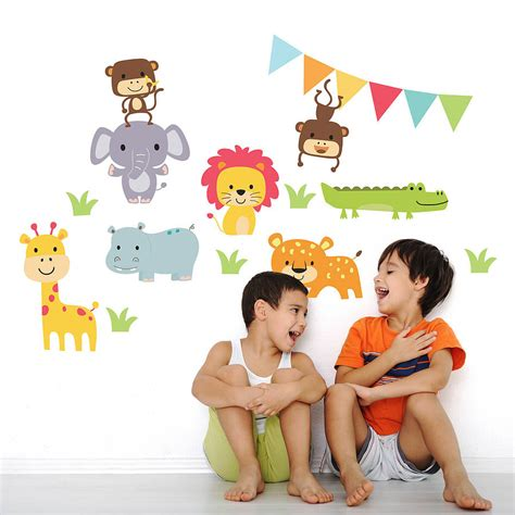 childrens animal wall stickers jungle animal childrens wall stickers by parkins interiors
