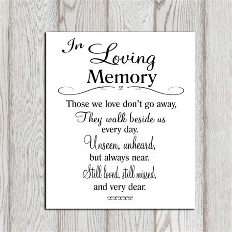 memory template in loving memory printable memorial table wedding by