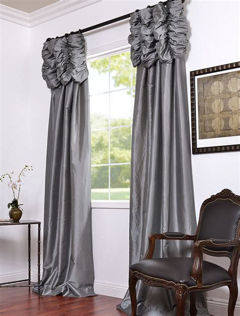 Silk Window Treatments Platinum Embroidered Ruched Faux Silk Taffeta Curtains