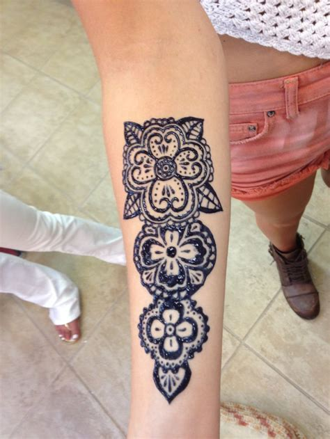 traditional henna style on forearm tattoo henna