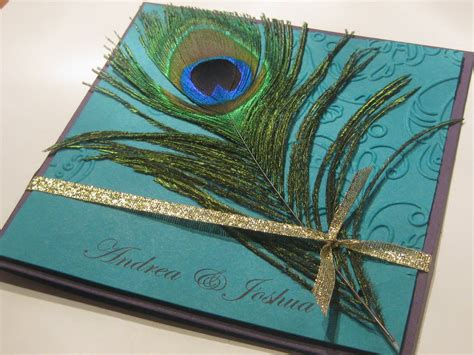 Peacock Wedding Invitations sted by romo peacock feather wedding