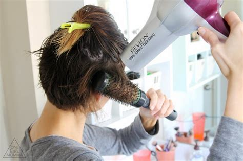 how to blow dry a bob to give volume styling an angled bob easy everyday tutorial one little