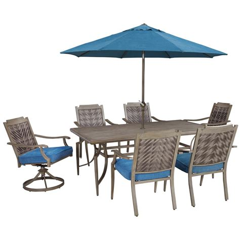 outdoor table set with umbrella signature design by partanna outdoor dining table