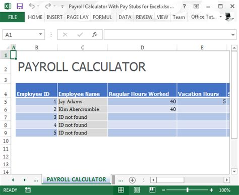 Payroll Calculator With Pay Stubs For Excel Excel Payroll Calculator Template Free