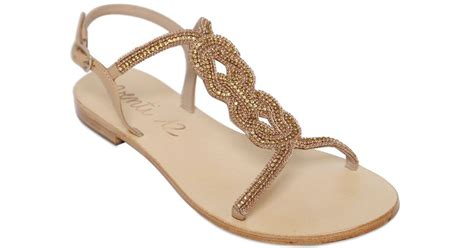 Sandal Wanita Wedges Gold Emas 004 venti 12 embellished leather sandals in metallic lyst