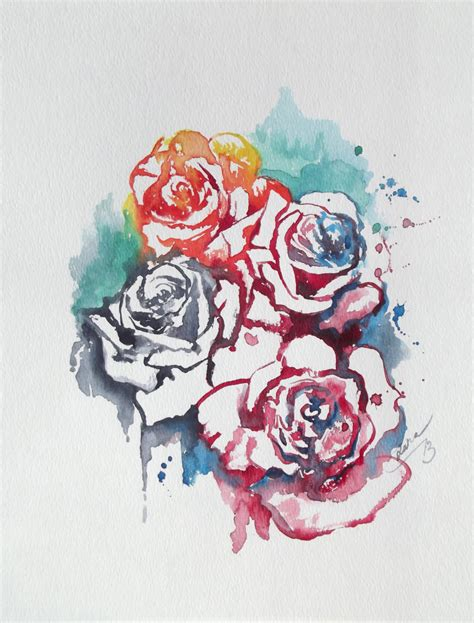abstract rose tattoo abstract floral original watercolor painting